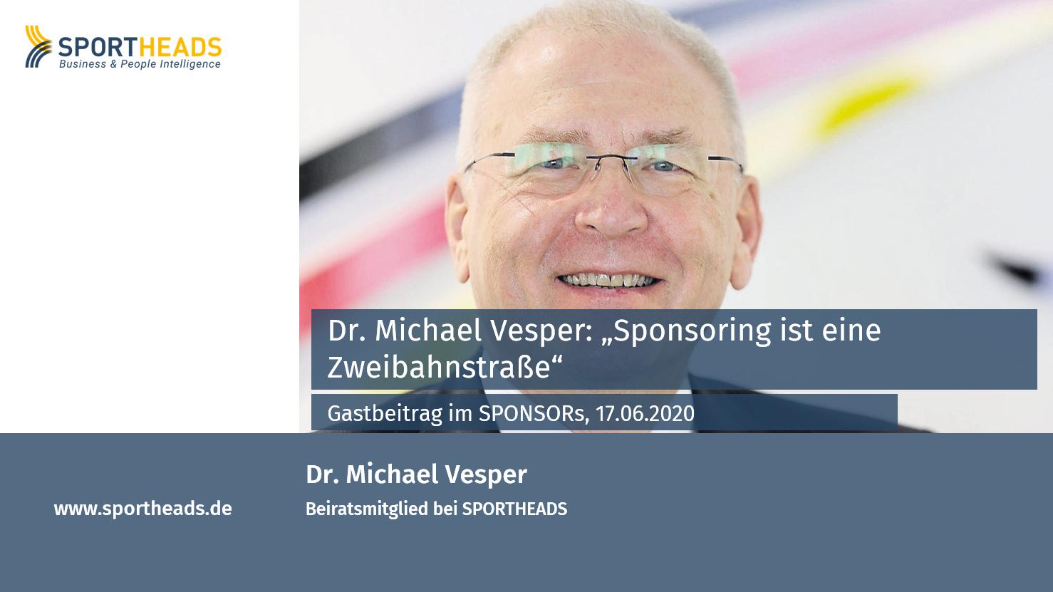 Unser Beiratsmitglied Dr. Michael Vesper im Interview mit SPONSORs